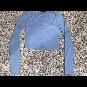 Baby blue long sleeve crop top